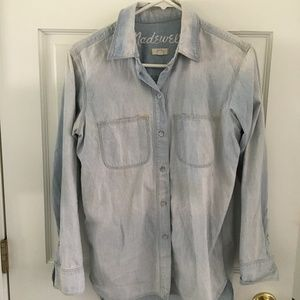 Madewell Light Wash Denim Boyfriend Button Down XS